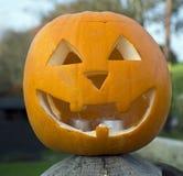 A Carved pumpkin Jack o` Lantern shot close up Royalty Free Stock Photos