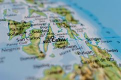 Cebu on map. Close up shot of Cebu. is a province of the Philippines located in the Central Visayas region Royalty Free Stock Photography