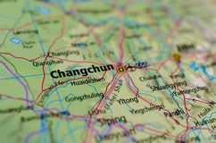 Changchun on map. Close up shot of Changchun. is the capital and largest city of Jilin Province, and is also the core city of Northeast Asia Royalty Free Stock Photo