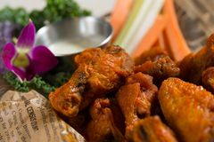 Close up shot of chicken wings. Close up shot of brown crispy chicken wings royalty free stock image