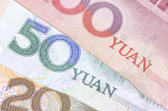Close-up shot of Chinese banknotes Royalty Free Stock Photos