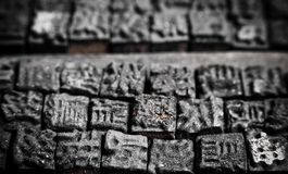 Close up shot of Chinese typescript letters. Collection of old Chinese wooden typescript letters Stock Images