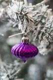 Close up shot of a christmas tree with beautiful decoration. Colorful balls decoration hanging on a christmas tree. with snow royalty free stock photo