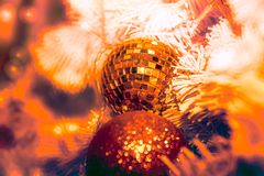 Close-up shot of Christmastide decoration with mirror ball and f Stock Images