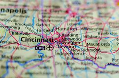 Cincinnati on map. Close up shot of Cincinnati. is a city in the U.S. state of Ohio and seat of Hamilton County royalty free stock images