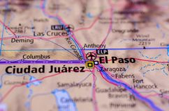 Ciudad Juárez and El Paso on map. Close up shot of Ciudad Juárez and El Paso. is the most populous city in the Mexican state of Chihuahua Stock Images