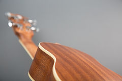Close-up shot of classic ukulele guitar, back view Royalty Free Stock Image