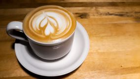 Close up shot coffee cup latte art royalty free stock photo