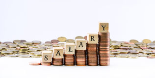 Close up shot of coin scale with wooden cubes forming the sign salary Royalty Free Stock Photos