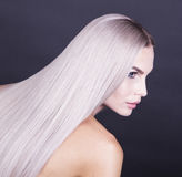 Close up shot of a cold blonde hair Royalty Free Stock Photography
