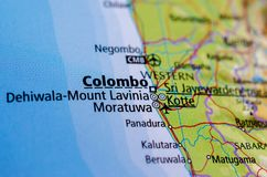 Colombo on map. Close up shot of Colombo.is the commercial capital and largest city of Sri Lanka Royalty Free Stock Image