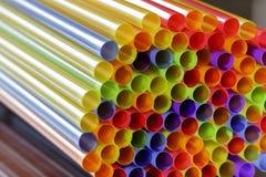 Plastic drinking straws, close up stock photo