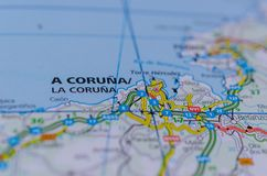 A Coruña on map. Close up shot of A Coruña or LA Coruña on map, in the Galicia region of northwest Spain. It's known for its Roman lighthouse, the Stock Photo