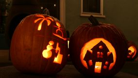 Close up shot of cute pumpkin craft. With lights at home, Los Angeles, California, United States stock video footage