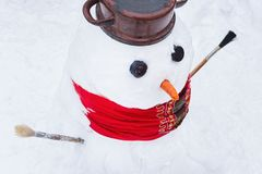 Snowman close up. Royalty Free Stock Photography