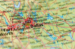 Dallas on map. Close up shot of Dallas. is a city in the U.S. state of Texas. It is the most populous city in the Dallas–Fort Worth metroplex Royalty Free Stock Photo
