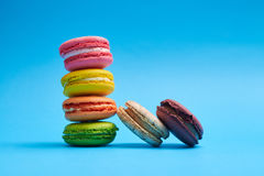 Close-up shot of a delicately piled macaroons Royalty Free Stock Photography