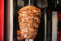Doner Kebab On Rotating Vertical Spit royalty free stock photo