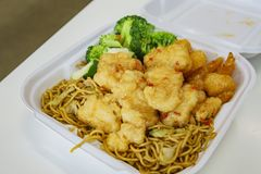 Close up shot of delicious fry shrimp and noodles. Ate at Los Angeles royalty free stock images
