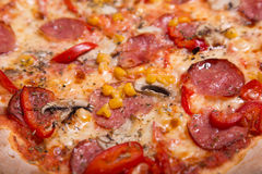Close-up shot of delicious Italian pizza with pepperoni and mush Stock Images
