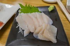 Close up shot of the delicious scallop sashimi. Ate at Hokkaido, Japan royalty free stock images