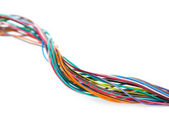Close-up shot of different colored wires Stock Images
