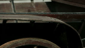Close up shot of the different part of the old wooden cart stock footage