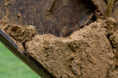 Close up shot of a digger. Caked in mud royalty free stock image