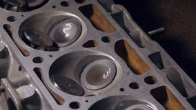 Disassembled Engine of Car with Valves. Close up shot of disassembled car`s engine with valves stock video