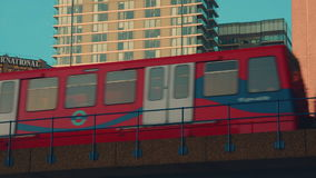 Close-up Shot of a DLR Train Crossing a Bridge stock video footage