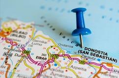 Donostia San Sebastián on map. Close up shot of Donostia San Sebastián on map with blue push pin stock photo