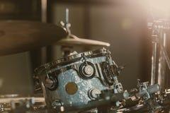 Close-up shot of drum set under spotlight. On stage stock photo