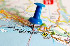 Dubrovnik on map. Close up shot of Dubrovnik on map with blue push pin royalty free stock photo