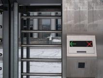 Close up shot of electronic ticket automatic turnstile stock image