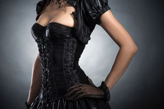 Close-up shot of an elegant woman in Victorian style corset Royalty Free Stock Photography
