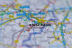 Enschede on map Stock Photos