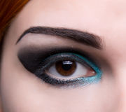 Close-up shot of an eye with artistic makeup Royalty Free Stock Photo