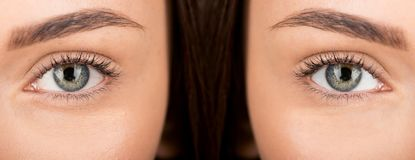 Eyes of woman before and after retouch Stock Image