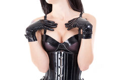 Close-up shot of female breast in latex bra Stock Images