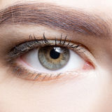 Close-up shot of female eye makeup. Stock Photo