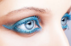 Close-up shot of female eyes blue make-up Royalty Free Stock Images