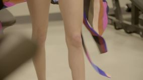 Legs of a woman. Close up shot on female legs during catwalk. Fashion show and model business concept stock video footage