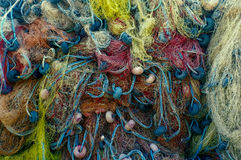 Close up shot of fishermen's net Royalty Free Stock Images