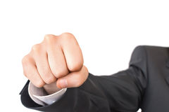 Close-up shot of fist beating to camera Royalty Free Stock Image