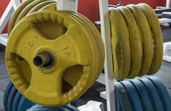 Close up shot of fitness room with sport equipment. fitness them Stock Photography