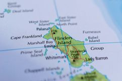 Flinders Island on map. Close up shot of Flinders Island, the largest island in the Furneaux Group located in the Bass Strait, northeast of the island of stock photos