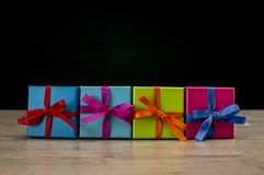 Multicolor presents on table Royalty Free Stock Photo