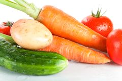 Close-up shot of fresh wet vegetables Stock Image