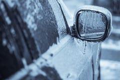 Frozen car mirror royalty free stock photo