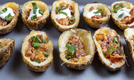 Close up shot of fully loaded potato skins Royalty Free Stock Photo